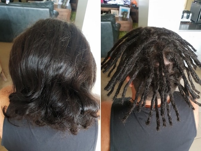 Starting Dreads Newcastle man bun before after
